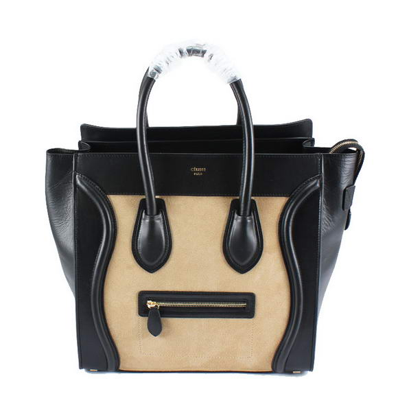 Celine Luggage Bags Jumbo in Suede Black Apricot