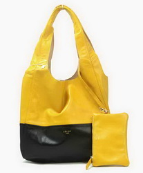 Celine New Lambskin Handbags 8823 Black Yellow