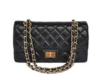 Chanel 2.55 Series Flap Bag 1113 Black Golden Hardware