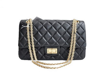 Chanel 2.55 Series Black Lambskin Leather Falp Bag A28668 Golden Hardware