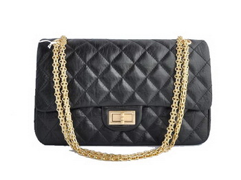 Chanel 2.55 Series Falp Bag A28668 Black Calf Leather Golden Hardware