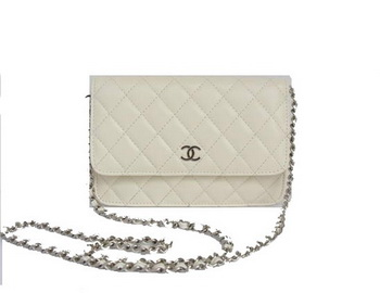 Chanel Lambskin Flap Bag A33814 White with Silver Chain