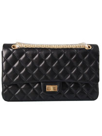 Chanel 2.55 Series Flap Bag A37587 Black with Golden Hardware