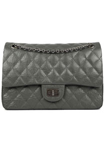 Chanel 2.55 Series Flap Bag A37587 Dark Grey with Silver Hardware