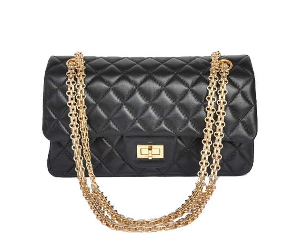 buy cheap Chanel 2.55 Series 1122 Classic Black Sheepskin Flap Bag Gold Hardware