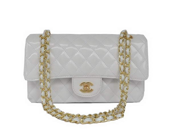 buy Cheap Chanel 2.55 Series White Patent Leather Flap Bag Gold Hardware