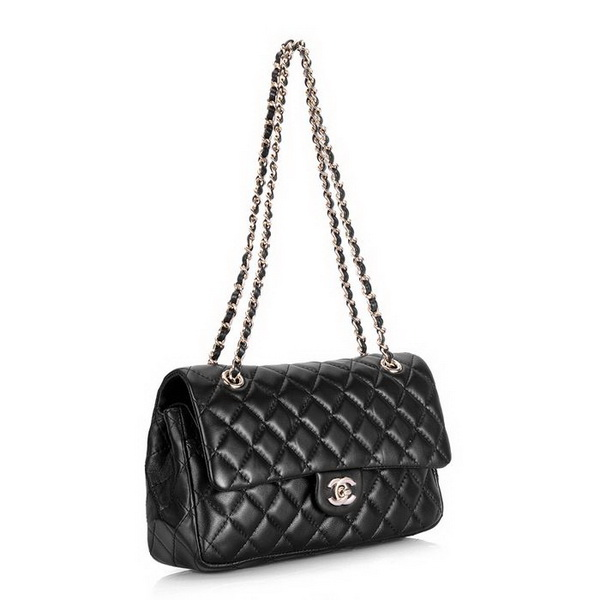 Chanel 2.55 Classic Series Flap Bag 1112 Black Leather Golden Hardware