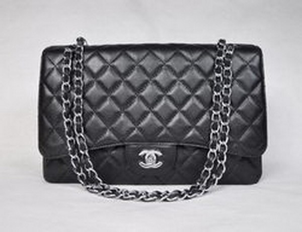 Chanel Maxi Black Caviar Leather with Silver Hardware Flap Bags 28601