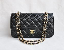 Chanel Classic 2.55 Series Black Lambskin Golden Chain Quilted Flap Bag 1113