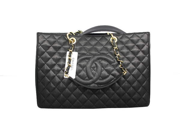 Chanel A37001 GST Black Caviar Leather Large Coco Shopper Bag Gold