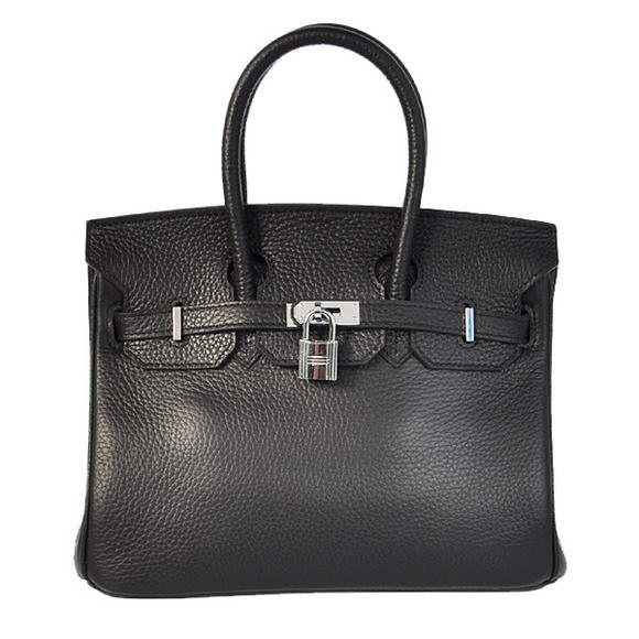 Hermes Birkin 25CM Tote Bags Togo Leather Black Silver
