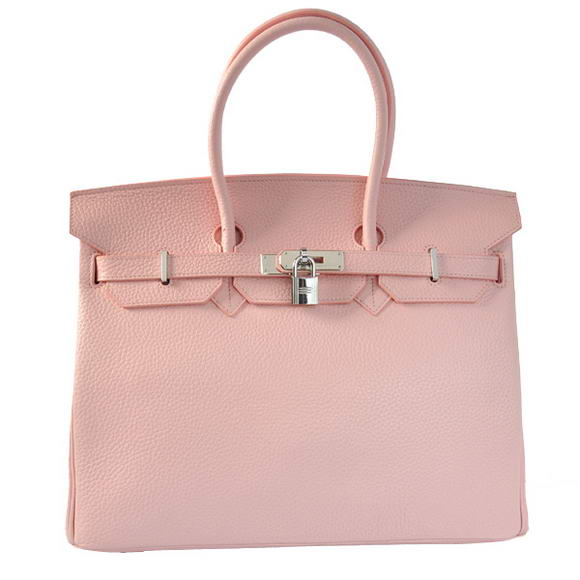 Hermes Birkin 35CM Tote Bags Togo Leather Pink Silver