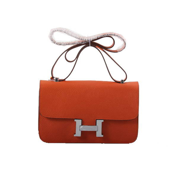 Hermes Constance Bag Togo Leather 1622L Orange Silver