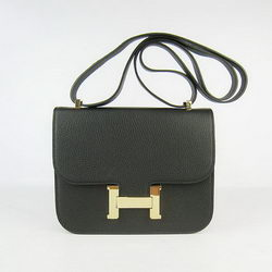 Hermes Constance Bag Black Oxhide Leather Gold
