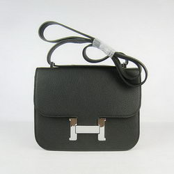 Hermes Constance Bag Black Oxhide Leather Silver
