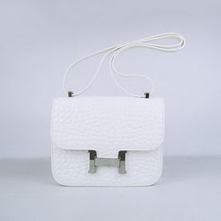 Hermes Constance Bag White Oxhide Stone Veins Leather Silver