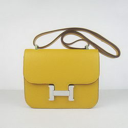 Hermes Constance Bag Yellow Oxhide Leather Silver