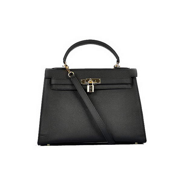 Newest 2012 Hermes Kelly 32cm Bags Black Calf Leather Gold