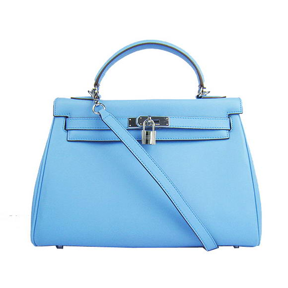 Hermes Kelly 32cm Bags Togo Leather 6108 Light Blue Silver