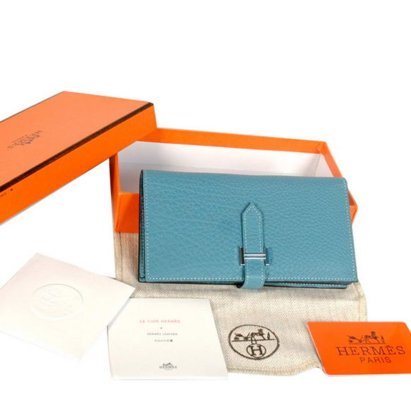 Hermes Bearn Japonaise Original Leather Wallet H8022 Blue
