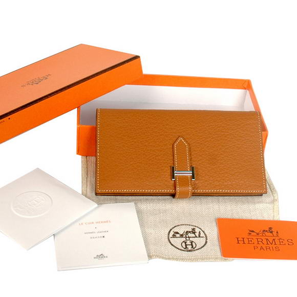 Hermes Bearn Japonaise Original Leather Wallet H8022 Camel