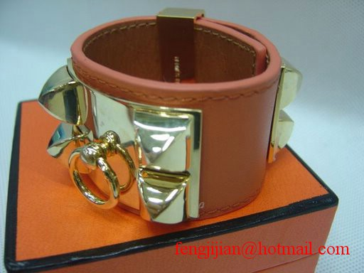 2009 Hermes Orange Leather Gold Bangle 1171