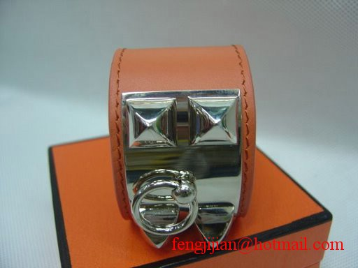 2009 Hermes Orange Leather Silver Bangle 1171