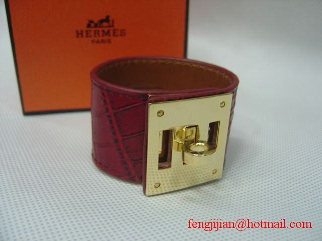 2009 Hermes Red Crocodile Gold Bangle 1171