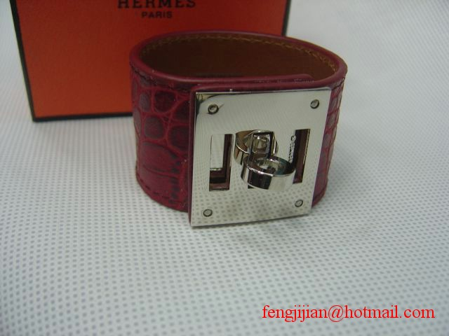 2009 Hermes Red Crocodile Silver Bangle 1171