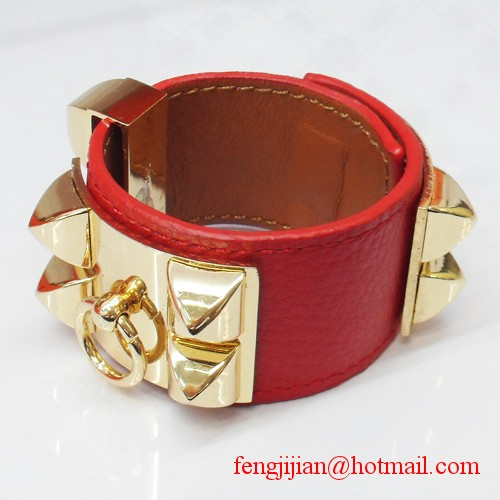 2009 Hermes Red Leather Gold Bangle 1171