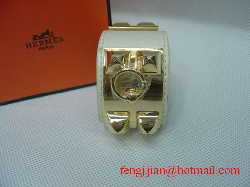 2009 Hermes White Leather Gold Bangle 1171