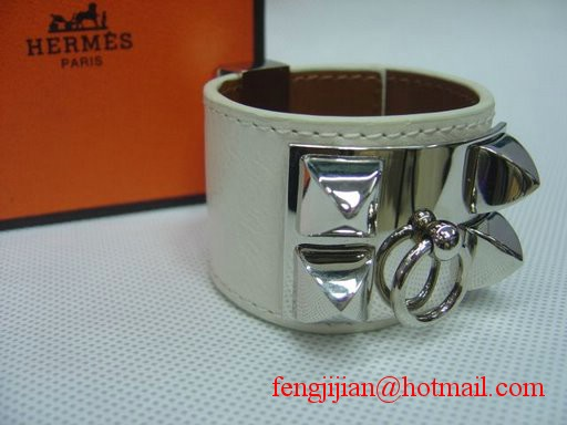 2009 Hermes White Leather Silver Bangle 1171