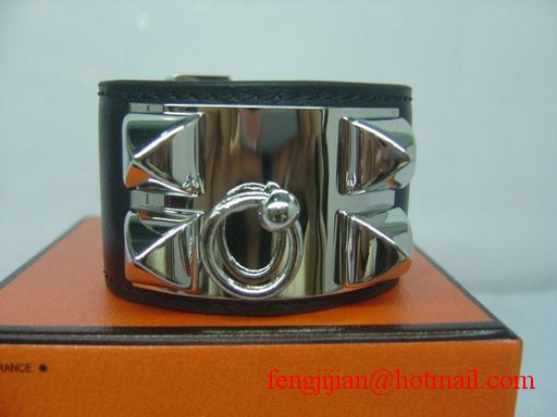 2010 Hermes Black Leather Silver Bangle 1171