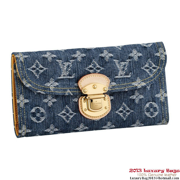 Louis Vuitton M95511 Monogram Denim Amelia Wallet Bleu