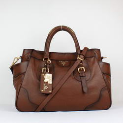 Prada Milled Leather Tote Bag YZ-8827 Chocolate