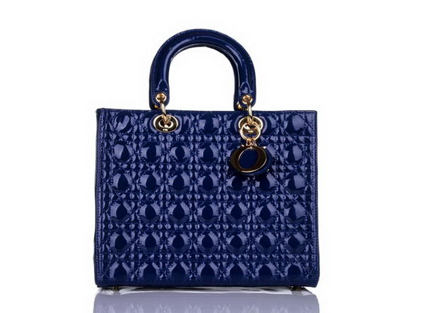 Christian Dior Blue Patent Leather Middle Lady Dior Bag Gold