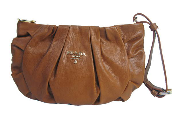 Prada Nappa Leather Gaufre Wristlet Clutch BN1503 Brown