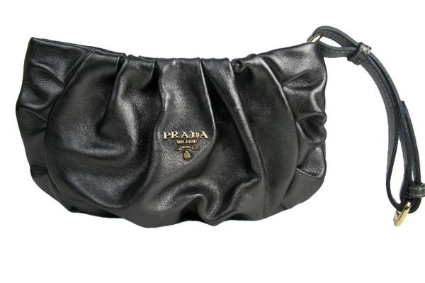 Prada Nappa Leather Gaufre Wristlet Clutch BN1503 Shiny Black