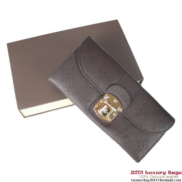 Louis Vuitton Mahina Leather Clutch M58123 Brown