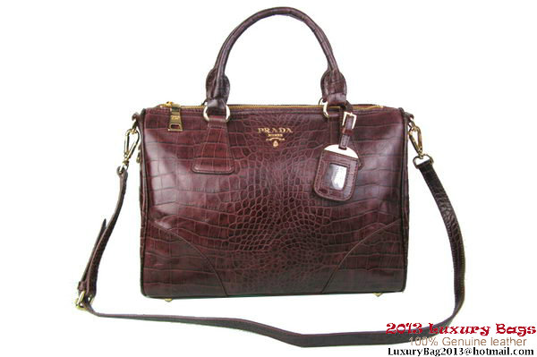 Prada Croco Leather Tote Bag BL0833 Brown