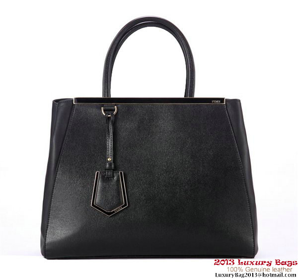 Fendi Fall Winter 2012 2Jours Original Leather Tote Bag F001 Black