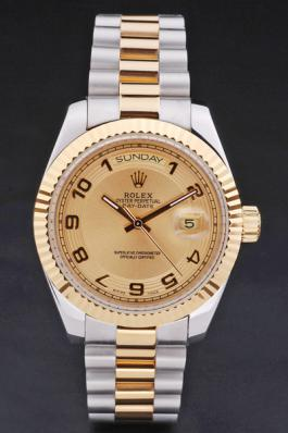 Rolex Day-Date 33mm Golden Surface Cutwork Watch-RD2882