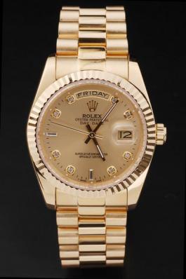 Rolex Day-Date Golden Surface Round Cutwork Watch-RD2442