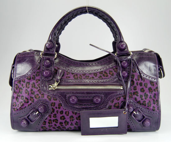 Balenciaga Giant Part Time Bag Purple Leopard