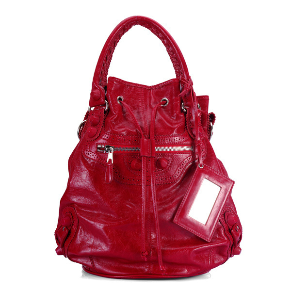 Balenciaga Mini Pompon Handbag Red