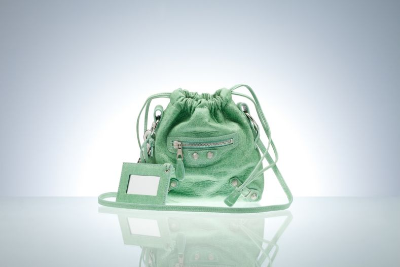 Balenciaga Drawstring Handbags Green
