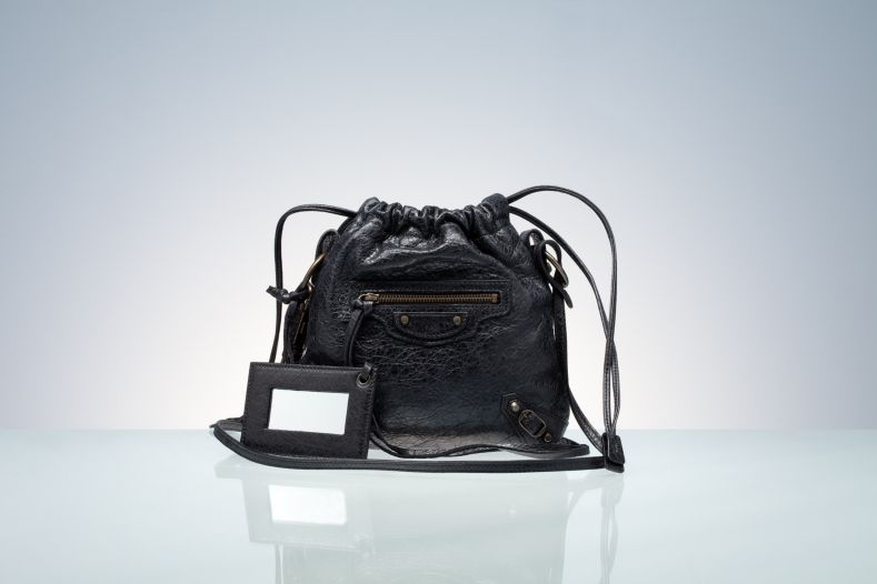 Balenciaga Drawstring Handbags Black