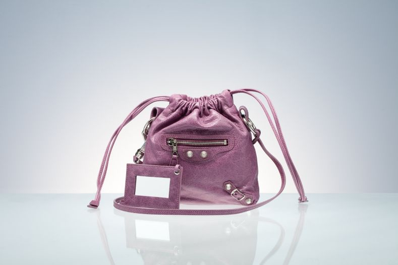 Balenciaga Drawstring Handbags Purple