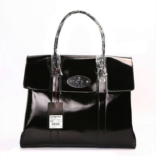 Mulberry Bayswater HandBag Wrinkle Paint Leather Black