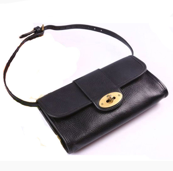 Mulberry Party Clutch Bag Natural Leather Black
